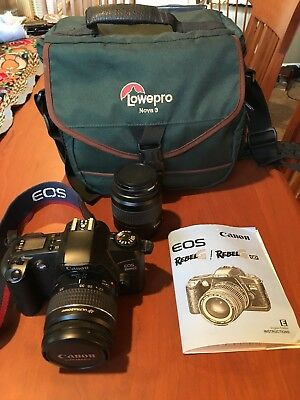 Canon EOS Rebel G, with Canon 22-55 mm Lens, Canon 35-80 mm Lens and Camera Bag