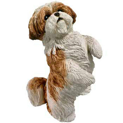 Shih Tzu Figurine Hand Painted Gold Puppy Cut - Sandicast