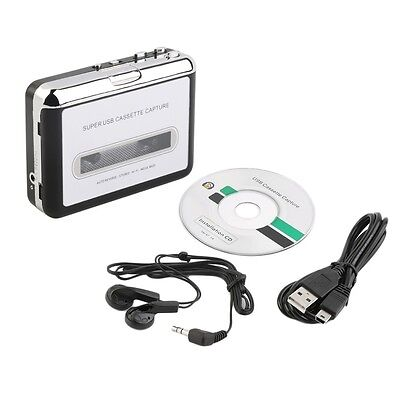 Tape to PC Super USB Cassette-to-MP3 Converter Capture Audio Music Player TF