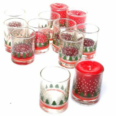Libbey Holiday Shot glasses Candle Holder Lot of 12 Snow tree Christmas