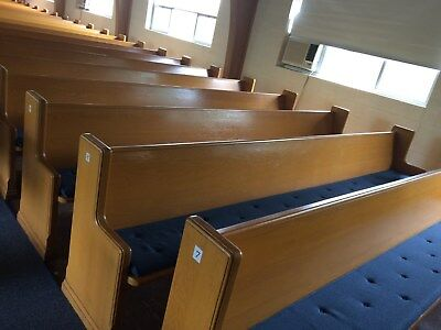 12 Solid Oak Wood Church Pews With Pads - 12 Ft Long Each - $50 Each