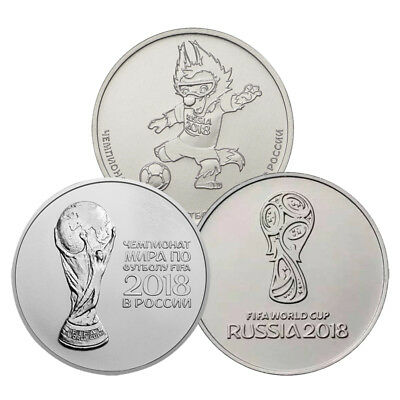 Russia 25 Rubles, Full Set 2018 Fifa World Cup Coins Unc 3Pcs, Free Shipping !