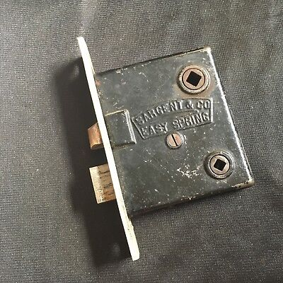 ANTIQUE Sargent EASY SPRING w BRASS FACE  MORTISE LOCK Pat. Jan 25/1885
