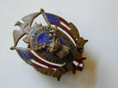 Antique Vintage 20s F of A Foresters of America Eagle Deer Old Screw Back pin