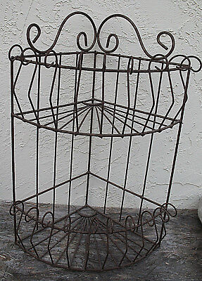 "Wrought Iron Corner Shelf Rustic Rusty 2 Shelves 24"" Plant Stand Indoor Outdoor"