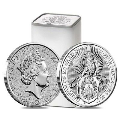 Roll of 10 - 2017 Great Britain 2 oz Silver Queen's Beasts (Griffin) Coin BU