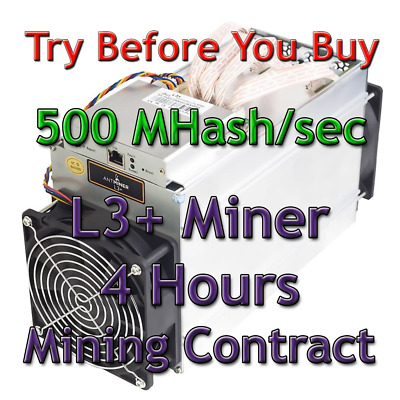 Bitmain Antminer L3+ 500 MHash/sec Guaranteed 4 Hours Mining Contract Scrypt