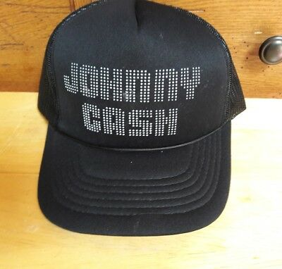 Johnny Cash Vintage Black Mesh Trucker Hipster Hat Embossed Vegas Showlites 4c72bcc6642