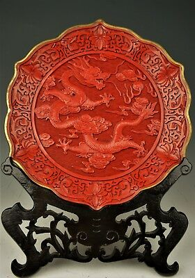 "Beautiful Vintage Large Chinese Cinnabar Carving Dragon Plate  12""  20th Century"