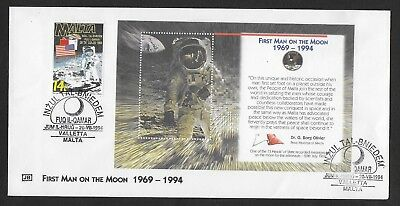 Malta First Day Cover, 1994 First Manned Moon Landing Stamp Set Used