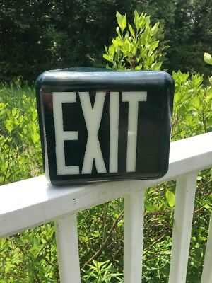 Vintage Green Triangular Glass Exit Sign 2 Of 2
