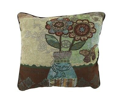 """Flowers and Vase"" Floral Tapestry Throw Pillow 43cm .. Things2Die4. Brand New"