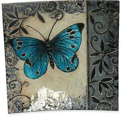 Angelstar 19054 Handmade and Hand-Painted Glass Blue Butterfly Square Plate,