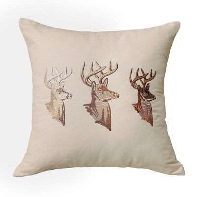 (20 x 20) - Golden Buck Embroidered Contemporary Decorative Cushion Throw