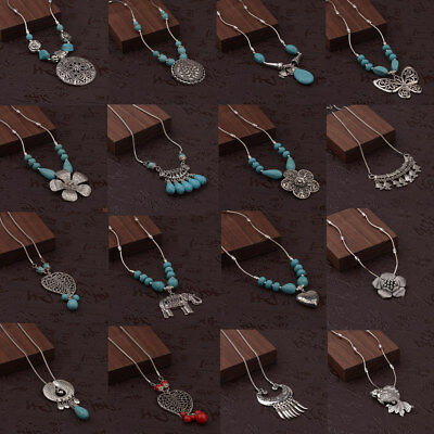 Vintage Women's Tibetan Silver Turquoise Beads String Pendant Necklaces Jewelry
