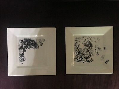 "2 ALICE in WONDERLAND 9"" SQUARE PLATE FISHS EDDY-BEAUTIFUL"