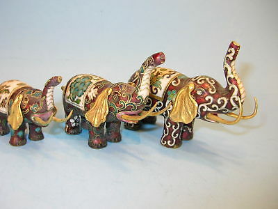 Lot of 3 Vintage Cloisonne Metal Enamel Trunk Up Elephants Different Sizes
