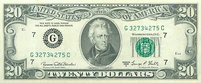 1969 series C G/C (CHICAGO) $20 Dollar Federal Reserve Note Bill US Currency