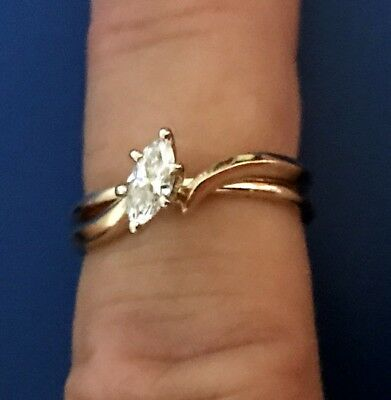 Marquise Cut 14 kt Wedding Ring Set Certificate 33 Diamond Artcarved Size 7 1/2