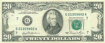 1981 series G/A (CHICAGO) $20 Dollar Federal Reserve Note Bill US Currency