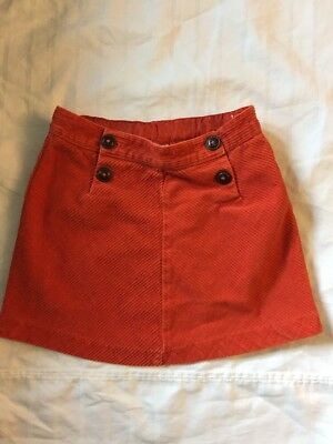 Janie And Jack Girls 5T Skirt Orange Corduroy Above Knee Adjustable Waist