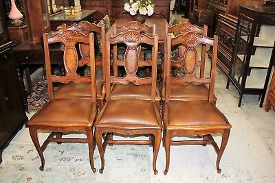 French Antique Walnut Louis XV Set of 6 Dining Room Chairs With New Upholstery.