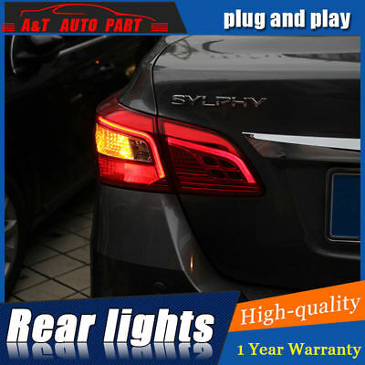 4Pcs LED Rear Lights Assembly For Nissan Sentra 16-18 Dark / Red LED Tail Lamps