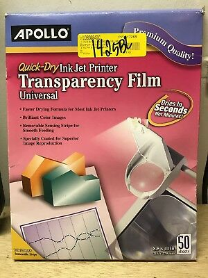 Quick-Dry Transparency Film, Removable Sensing Stripe, Letter, Clear, 50 Sheets