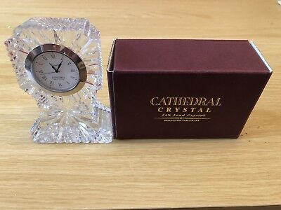 A Beautiful Design And Shaped Cathedral Crystal Cut Glass Quartz Clock