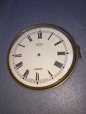 "ANTIQUE SMITHS ENFIELD LONDON WALL CLOCK DIAL 10"" Brass Bezel Glass"