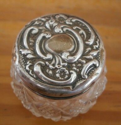 SMALL ANTIQUE SILVER & CUT GLASS ROUGE POT Hallmarked Birmingham 1900
