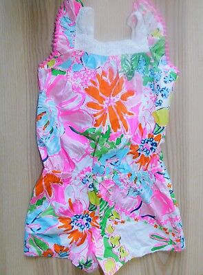 """NWOT Lilly Pulitzer for Target """"Nosie Posey"""" Cotton Romper Pom Pom Toddler Sz 4T"""