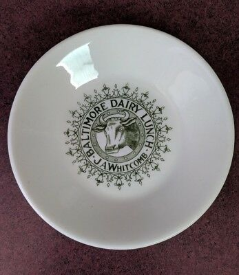 Antique Vintage 1880 - 1920 Baltimore Dairy Lunch J. A. Whitcomb Oval Bowl Rare