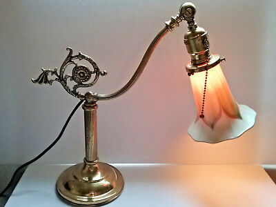 Antique QUEZAL Pulled Feather Lamp Shade + Original Dated 1909 Lamp - Works! VGC