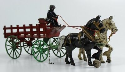 Vintage Kenton Cast Iron Horse Drawn Stake Wagon Carriage