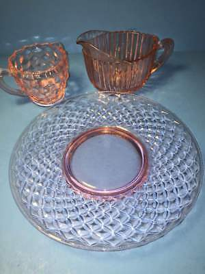 * 3 Piece Lot Pink Depression Glass Anchor Hocking Queen Mary 2 Creamers 1 Plate