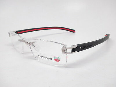 Authentic Tag Heuer TH 7643 002 Silver (Black/Red Temples) Eyeglasses 54mm