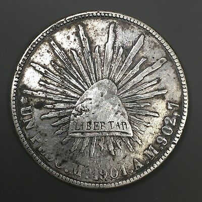 1901 Mo AM MEXICO SILVER PESO - MEXICO CITY MINT - CHOP MARK / COUNTER STAMP