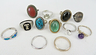 Vintage Or Antique Lot Of 12 Silver Tone Rings Size 6 Rhinestone & Other Stone