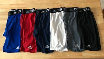 Lot Of 6 Mens Adidas Climalite Techfit Long Length Compression Shorts Size Med.
