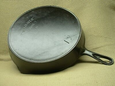 """Nice Large & Deep """" Wagner """" Sidney 0 No. 12  Cast Iron Skillet W/ Heat Ring"""
