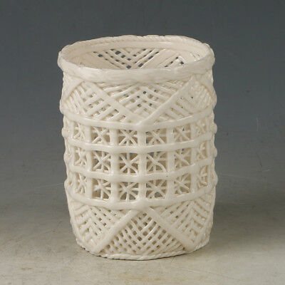 Chinese Exquisite Dehua Porcelain Handwork Carved Hollowed Brush Pot G187+a
