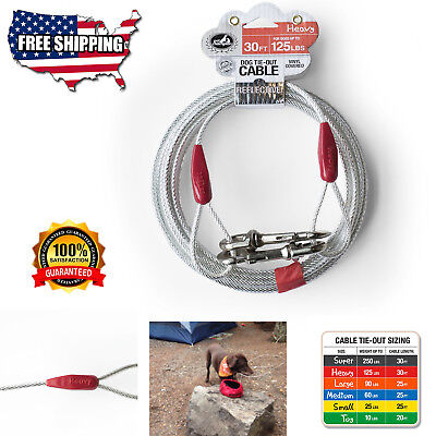 EXTRA-LARGE DOG OUT Cable 30 ft Heavy Duty Pet Tie Steel Strong Long  Leashes Run