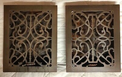 2 Vintage 1890's Ornate Victorian Rectangular Cast Iron Heat Registers w Louvers