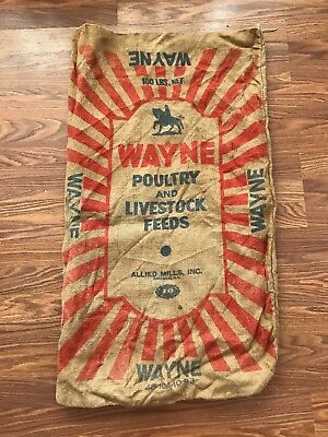 Vintage Burlap Feed Bag Sack, Feedsack Grain Wayne 100 lbs.