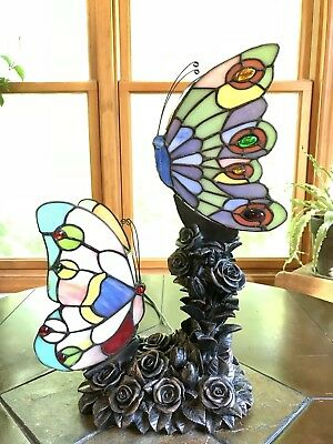 Vintage Tiffany Style Stained Glass Butterfly Table Lamp Accent Lamp