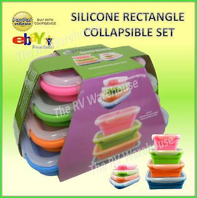 Storage Container 4 Set Collapsible Silicone Rectangle Food Kitchen Caravan Camp