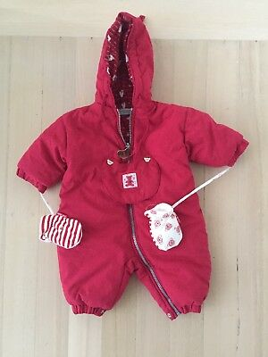 French Baby Girl boy unisex red snowsuit pram suit Lined & Padded 6months mitten