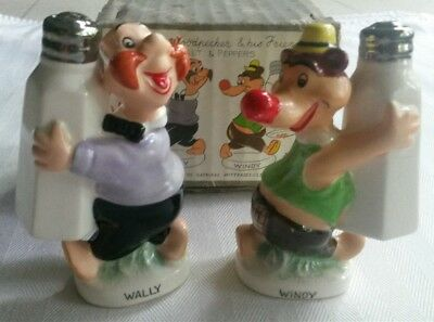Vintage Walter Lantz RARE 1958 Salt and Pepper Shakers Wally and Windy with Box!