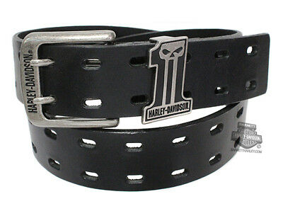 Harley-Davidson Mens Double Down #1 Skull Logo Black Leather Belt by LODIS
